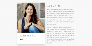 Web Design feature we built for the about me feature of Esther Malwitz.